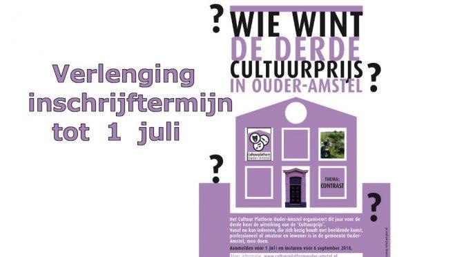 verlenging inschrijftermijn cultuurprijs 2018